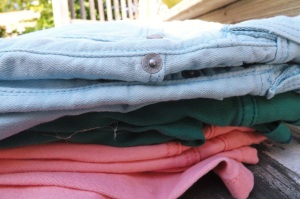 fall essentials colored jeans stacked